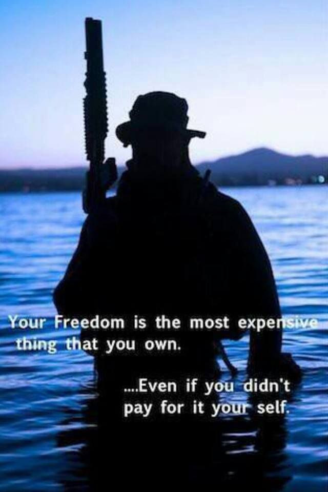 """Your freedom is the most expensive thing that you own, even if you didn't pay for it yourself. """"  Paid for we Canadians 100 years/ 60 years ago by men we won't see til life is passed"""