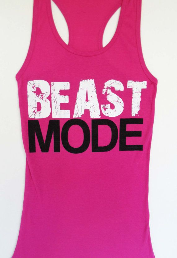 BEAST MODE Pink Workout Tank Fitted XLARGE by NobullWomanApparel, $24.99