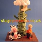 A scene from Jack and the Beanstalk in fondant icing and made into a greetings card