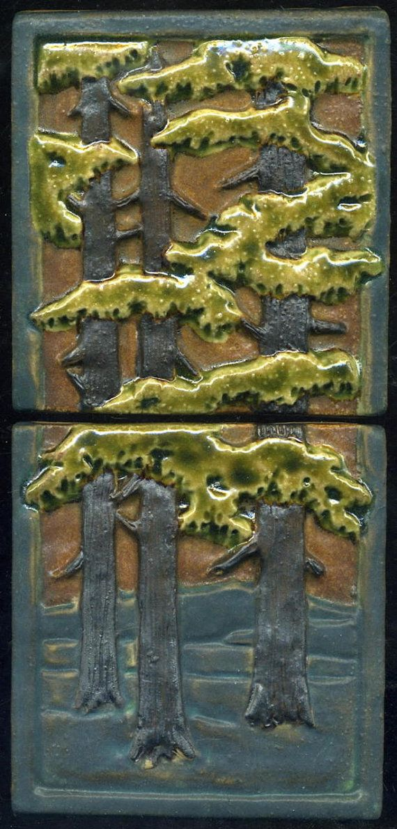 Craftsman Style Fir Trees Tiles Set of Two by RavenstoneTiles, $65.00