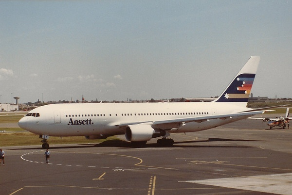 Ansett Boeing 767-277 VH-RMF at Sydney-Kingsford Smith, circa 1987.