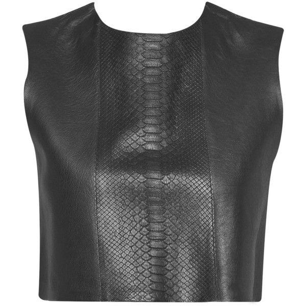 Balatt Piton Garni Deri Bluz Siyah   365ist via Polyvore