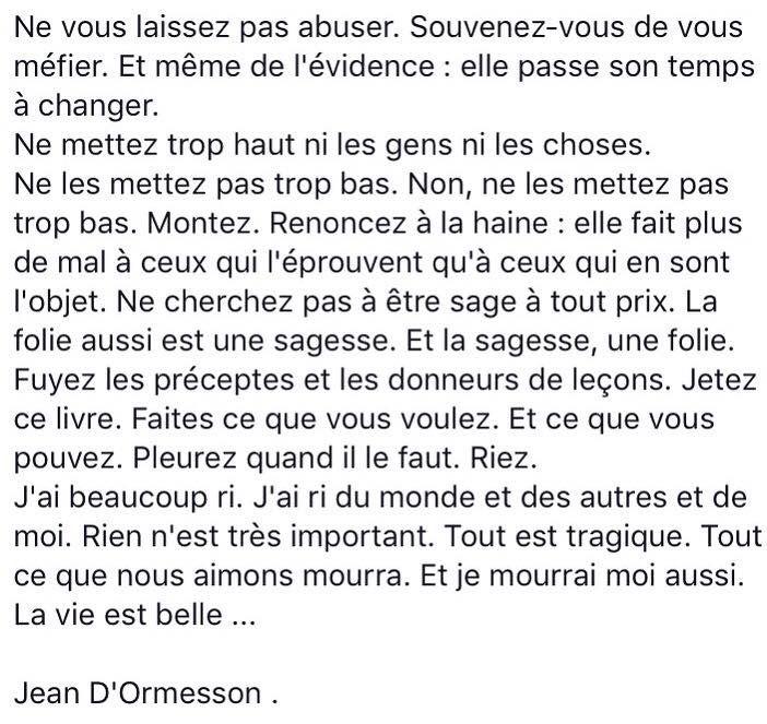 Jean d'Ormesson. La vie est belle. (extrait de C'était bien)