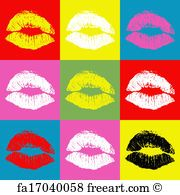 Free art print of Pop art lips. Lips illustration in colorful rectangles | FreeArt | fa17040058