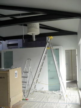 Preparation of the kitchen area and placement of the extractor system. See and stay in the finished luxury apartment for #vacation rental, Liepaja Latvia