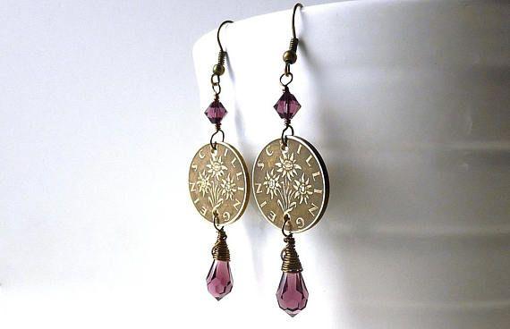 Coin earrings Austrian earrings Floral earrings Edelweiss