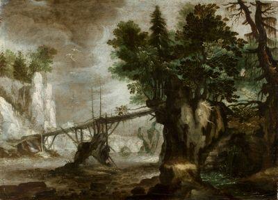 Tyrolskt bergslandskap med bro, från cirka 1608-09.