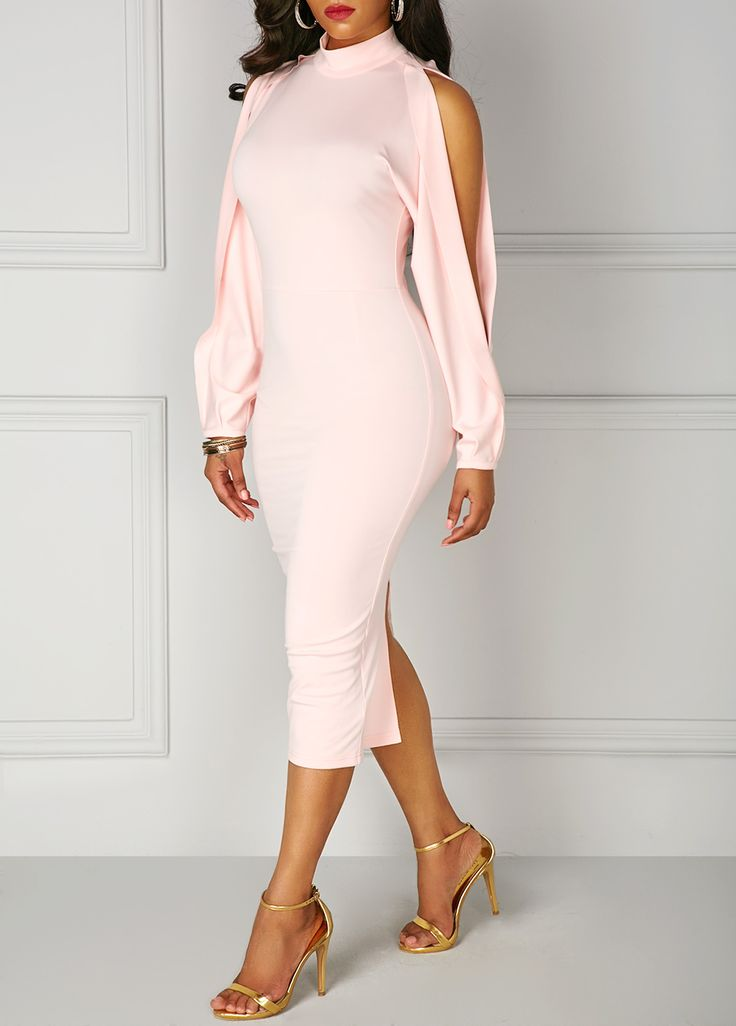 Back Slit High Neck Split Sleeve Pink Dress on sale only US$34.42 now, buy cheap Back Slit High Neck Split Sleeve Pink Dress at liligal.com