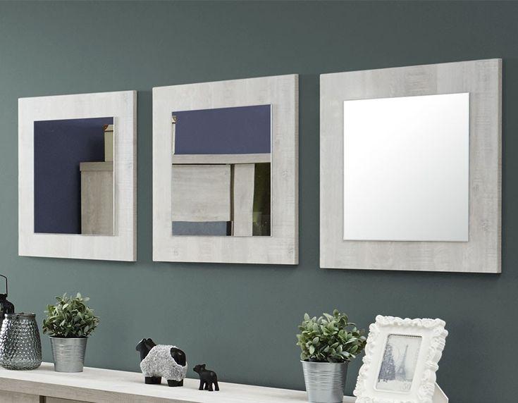 Miroir carré contemporain couleur chêne gris JUNE