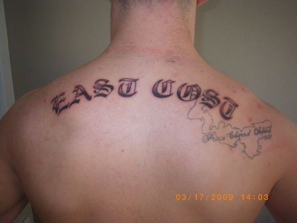 """When Canadians go wild. The thing on the right of the tattoo says """"Prince Edward Island."""" Mos Eisley PEI is not, unless Anne of Green Gables was total fiction or something."""