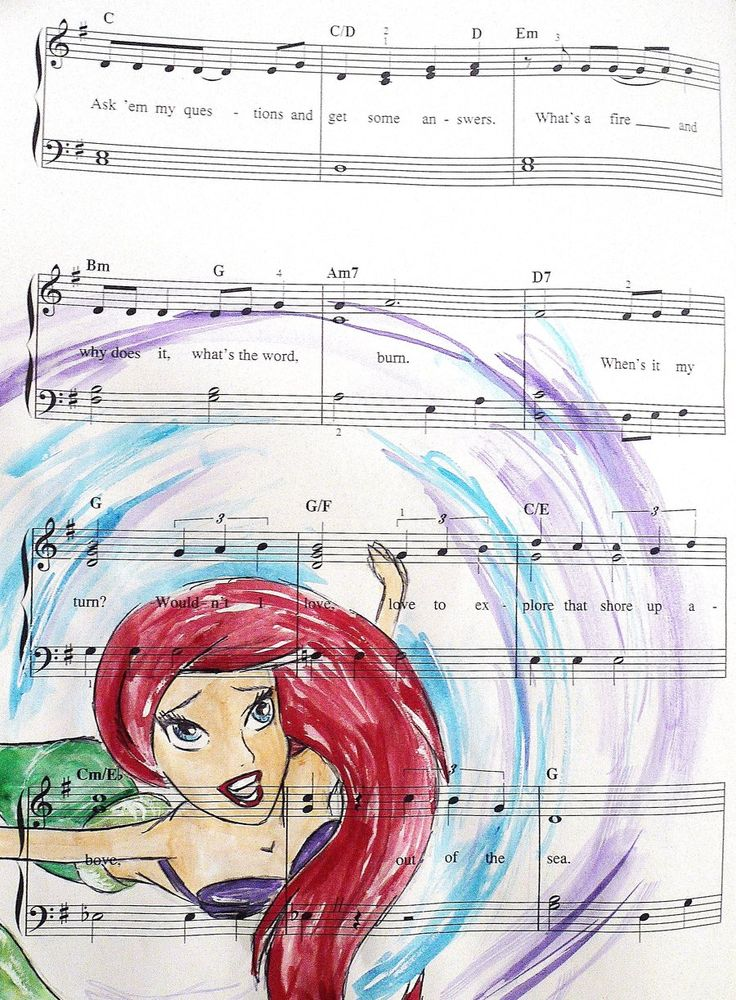 i would have every one of these prints framed and on my wall in a heartbeat.: Little Mermaids, Idea, Ariel, Disney Princess, Art, Sheet Music, Music Sheet