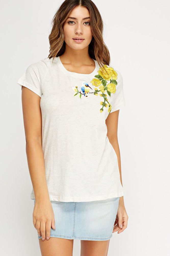 Womens white applique detail casual t-shirt Large - UK12-14 , BNWT #VCode #Blouse #Casual