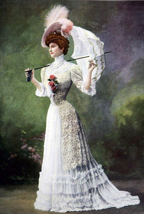Edwardian Belle Epoque Photograph Of A Woman In A Lace Summer Dress With A Parasol