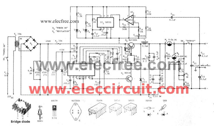 variable switch mode power supply circuit 0-50v at 5a