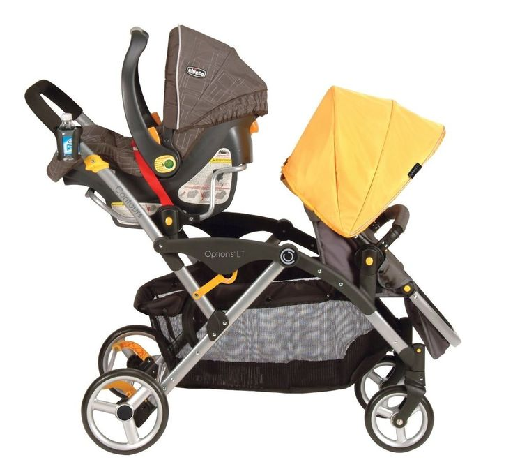 Infant Walker Tandem Stroller Car Seat Yellow Baby Twins