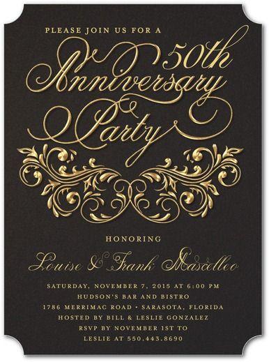 Golden Love - Signature White Anniversary Party Invitations - Sarah Hawkins Designs - Dark Gray - Gray : Front