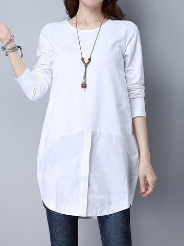 Fashion Shirt Patchwork Long Sleeve O Neck Women T-Shirts