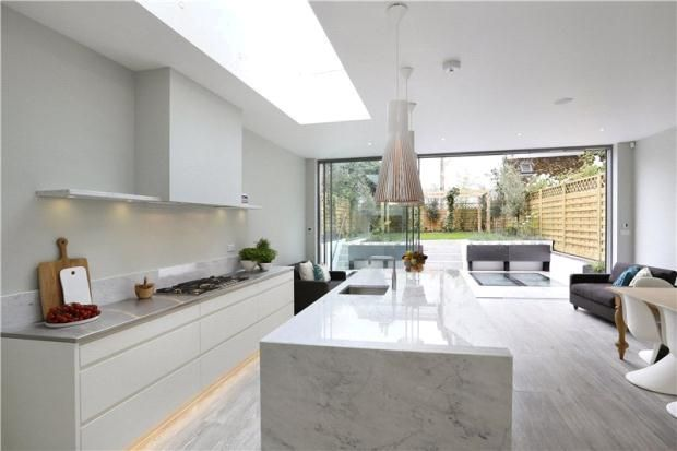 roof light in stunning kitchen #rooflight #foldingdoors #kitchen