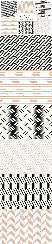 Zig Zag Seamless Patterns Set. Patterns