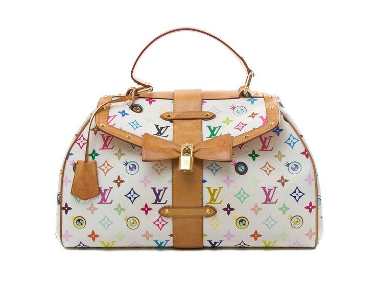 Authentic Louis Vuitton Multicolor Murakami Eye Love You Bag White
