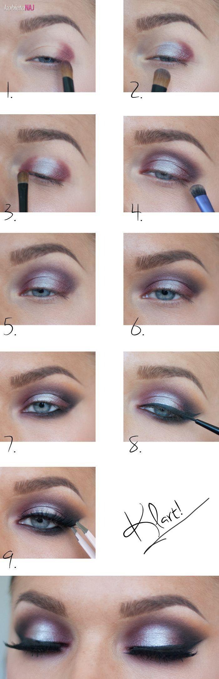 Piękny, metaliczny make up muśnięty bordowym odcieniem - Krok po kroku...