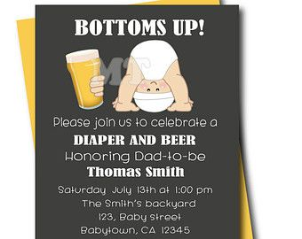 Beer and Babies Dad Baby Shower Invitation by MartinelaToons