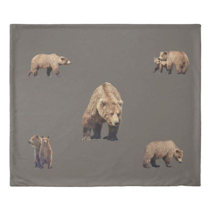 King Size Duvet Cover w/ grizzly bears - #customizable create your own personalize diy