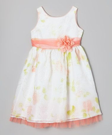 This Ivory Floral Tulle Dress - Toddler & Girls by Sweet Heart Rose is perfect! #zulilyfinds