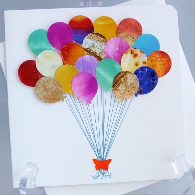 Handmade 3D Balloons Card Happy Birthday New Baby Boy Girl