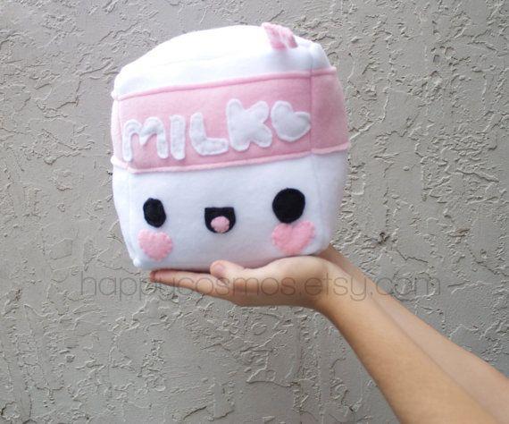 Cubed Milk Plush Kawaii Plushie Cute Stuffed by HappyCosmos