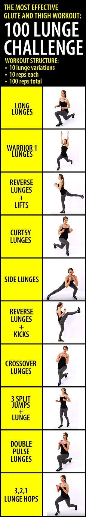 The lunge variations in this lower body workout are excellent for targeting the glutes and thighs from various angles, which makes it VERY effective for toning and shaping those muscles. For the best results do this workout 3-4 times a week.
