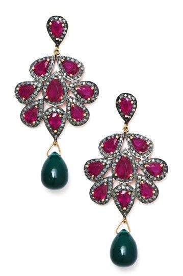 Ruby, Emerald & Diamond Cluster Dangle Earrings