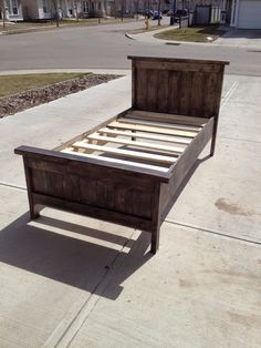 Farmhouse Style Twin Bed, or as we call it Big Girl Bed. How to make a rustic bed from barn wood, reclaimed wood, or new wood. Easy DIY project based on Ana White tutorial. Sleep in it tonight!