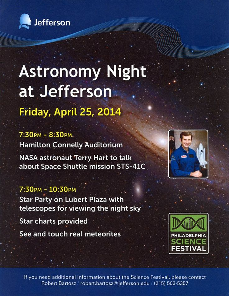 Join us this Friday for Astronomy Night at Jefferson and check out other Philly Science Festival Events through May 3. Come on Philly it's time to #GetNerdyPHL!