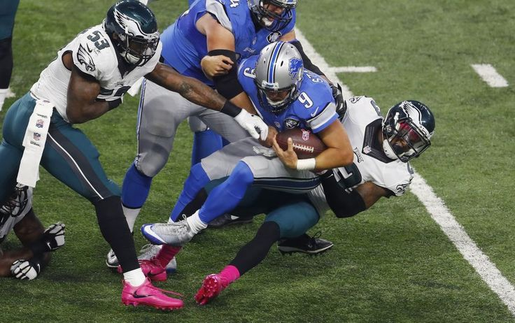 Eagles vs. Lions:  24-23, Lions, October 9, 2016  -         Detroit Lions quarterback Matthew Stafford (9) is stopped by Philadelphia Eagles free safety Rodney McLeod during the first half of an NFL football game, Sunday, Oct. 9, 2016, in Detroit. (AP Photo|Paul Sancya)