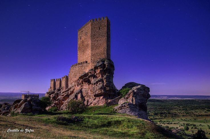 CASTLES OF SPAIN - The Castle of Zafra, Guadalajara. Built in the late 12th or early 13th centuries on a sandstone outcrop in the Sierra de Caldereros, it stands on the site of a former Visigothic and Moorish fortification that fell into Christian hands in 1129. It had considerable strategic importance as a virtually impregnable defensive work on the border between Christian and Muslim-ruled territory.
