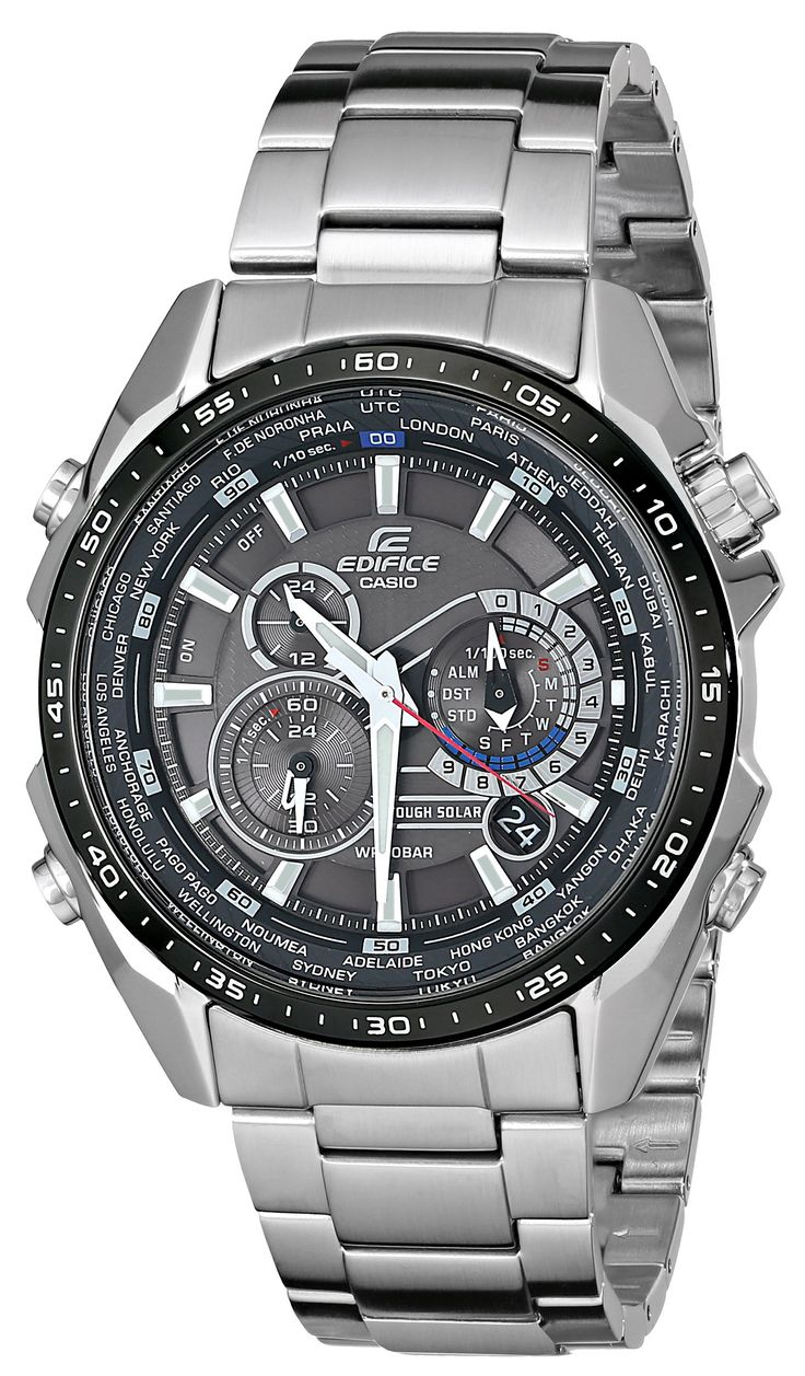 """Casio Men's """"Edifice"""" Tough Solar Stainless Steel Multi-Function Watch  Product Features Whether your travel spans the globe or you simply head to  the other ..."""