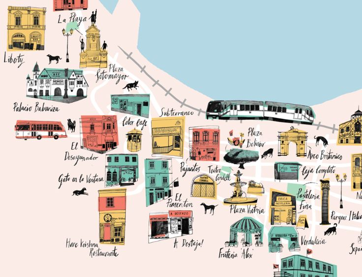 An illustrated map of some great spots in Valparaiso, Chile in South America. Seen whilst travelling