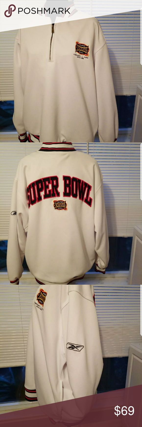 Super Bowl XXXVIII Pullover Reebok A great Super Bowl XXXVIII Pullover Warmup Jacket. Mens Large. Soft 100% Polyester with 2 pockets and a zipper at the neck.  From 'Reebok Team Apparel'. Beautifully embroidered Front and Back. Has Super Bowl XXXVIII logo embroidered on the Front. Reebok Tops Sweatshirts & Hoodies