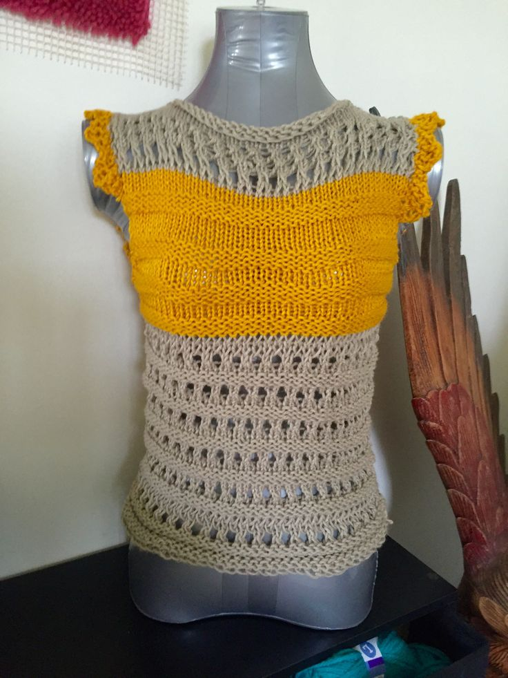 One size fit all Breezy simply Summer tops hand knitted, drop shoulder in mustard yellow and husky gray cotton yarn $ 25