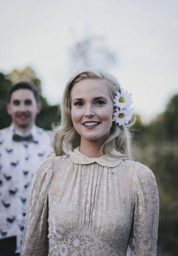 BAMBI + ADEN // #bride #vintage #velvet #ivory #daisies #blonde #inspiration #wedding #photography
