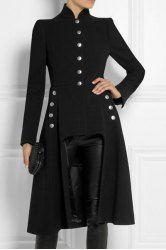Stylish Stand-Up Neck Long Sleeve Button Design Asymmetrical Women's Coat