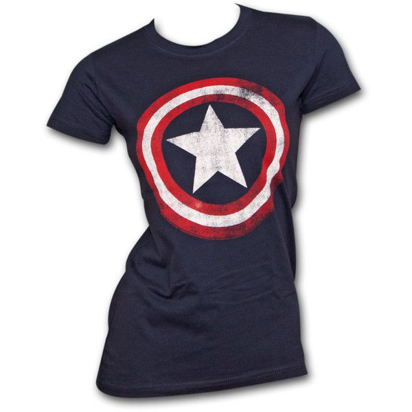 Impact Women's Captain America Shield Marvel Logo Costume T-Shirt ($26) ❤ liked on Polyvore featuring costumes, blue, ladies costumes, blue costume, adult women halloween costumes, lady halloween costumes and adult costume