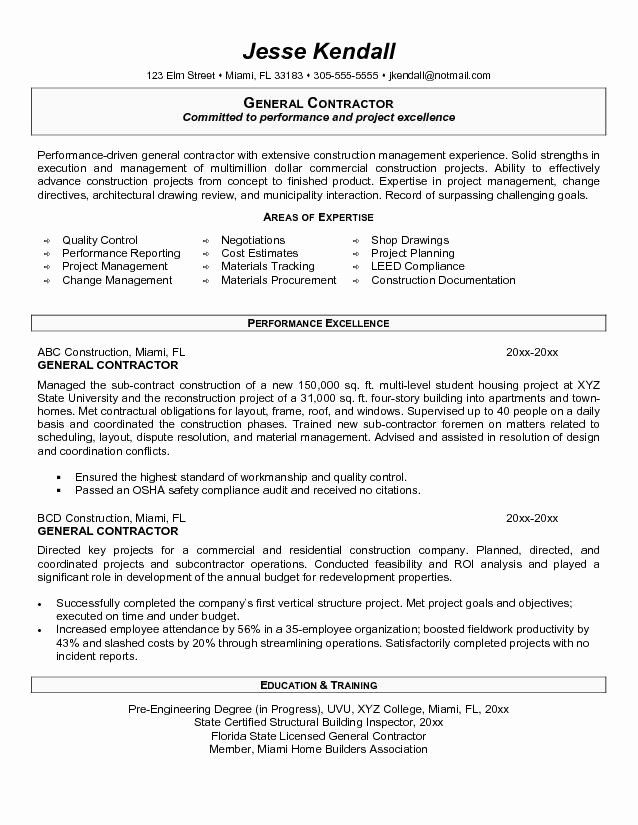 General Contractor Business Plan Template Fresh General Contractor R General Objective For Resume Resume Objective Examples Resume Objective Statement Examples