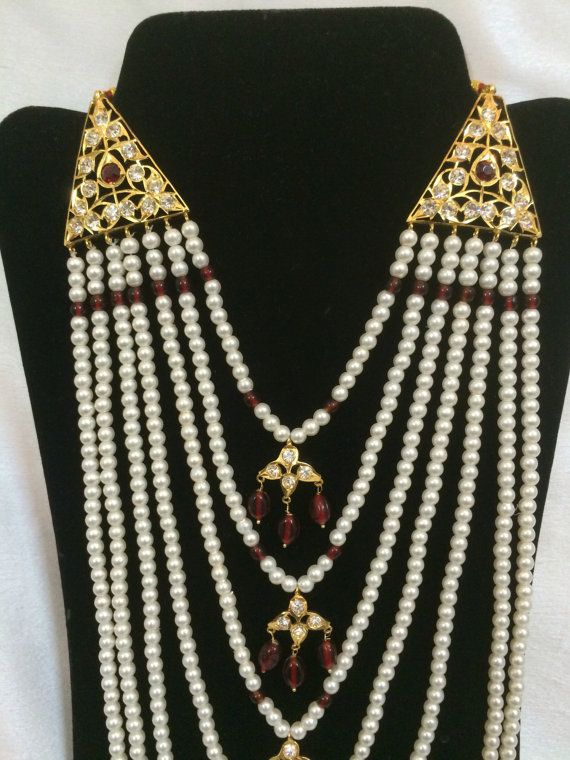 Red Saat Lada Hyderabadi indian necklace set  Wedding by MahrukhD