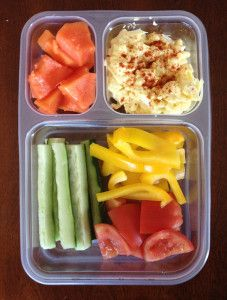 Paleo Lunch: Papaya; Egg Salad with Paleo Mayo; Cucumber Sticks; Plum Tomatoes; Yellow Bell Peppers