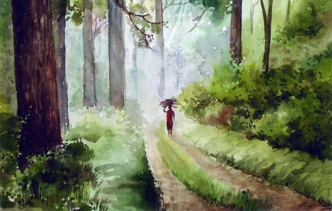 watercolor painting india