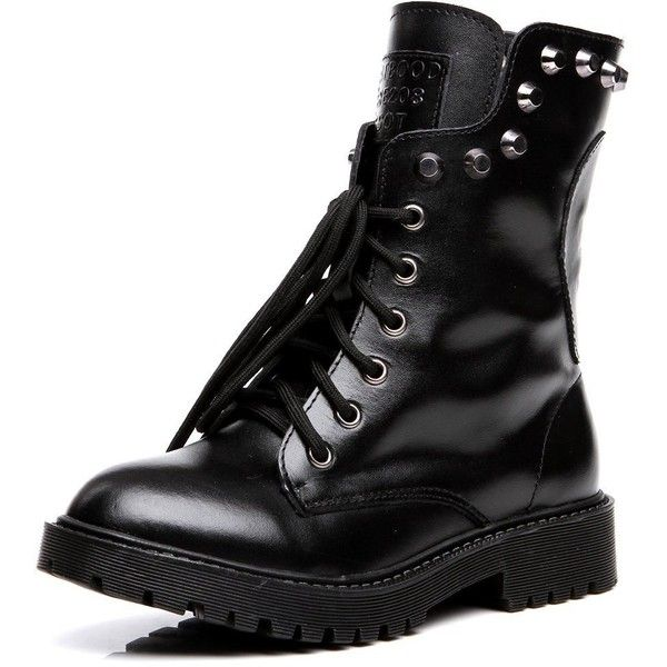 Shenn Women's Round Toe Knee High Punk Military Combat Boots ❤ liked on Polyvore featuring shoes, boots, military combat boots, knee high combat boots, wide boots, combat boots and military boots