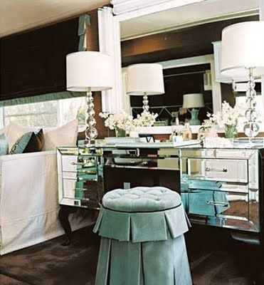 Hollywood Regency Style Master Bedroom With Turquoise Suede Dressing Stool
