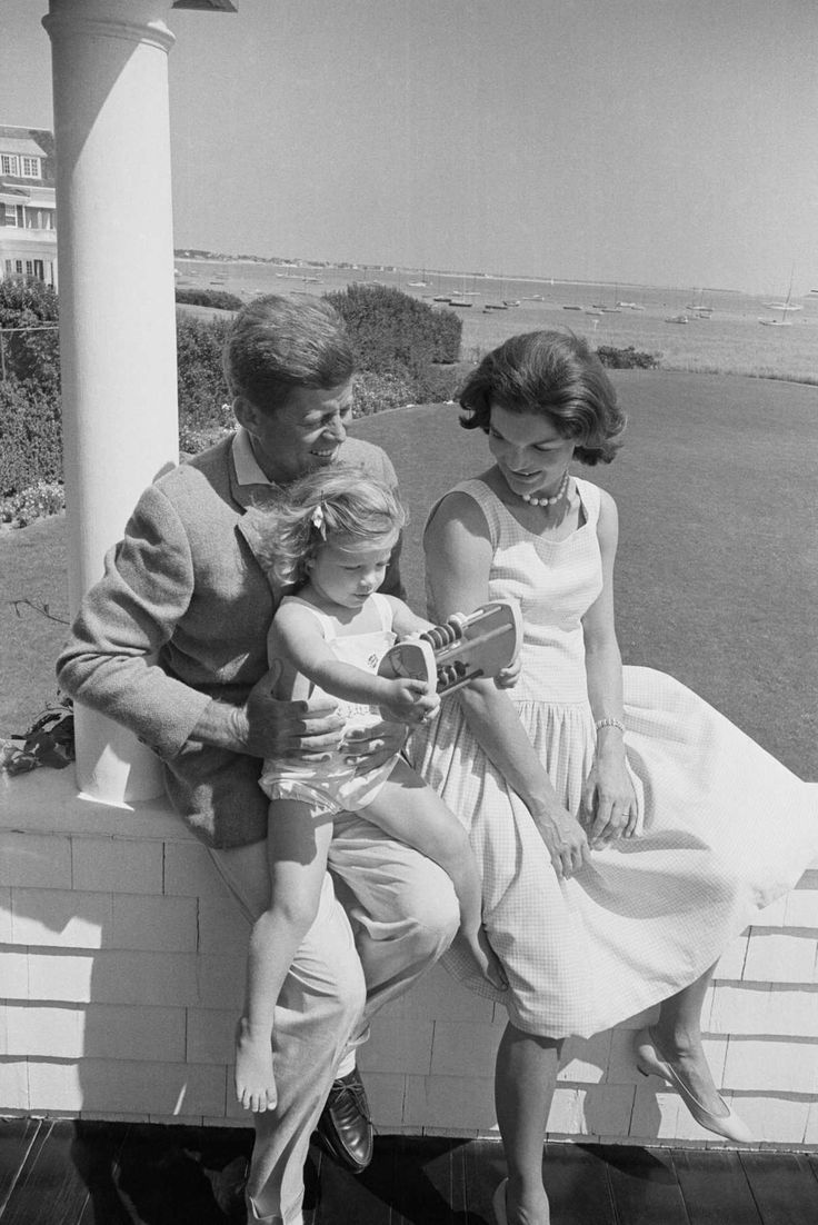 JFK with Jackie and Caroline on August 28, 1960 at the Kennedy compound in Hyannis Port, MA. Jackie was pregnant with JFK, Jr. and was due in November.